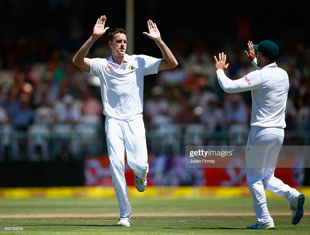 Morne Morkel of South Africa celebrates taking the wicket of Alex Hales of England after he was caught behind by AB de Villiers of South Africa during day one of the 2nd Test at Newlands Stadium on January 2, 2016 in Cape Town, South Africa.