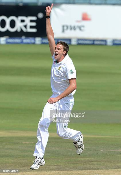 Morne Morkel of South Africa celebrates taking the wicket of Younis Khan of Pakistan for 15 runs during day 3 of the 1st Test match between South...