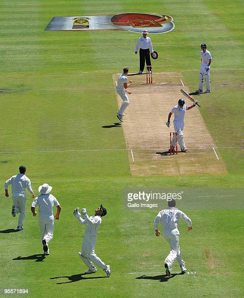 Morne Morkel of South Africa celebrates the wicket of Andrew Strauss of England for 2 runs during day 2 of the 3rd test match between South Africa...