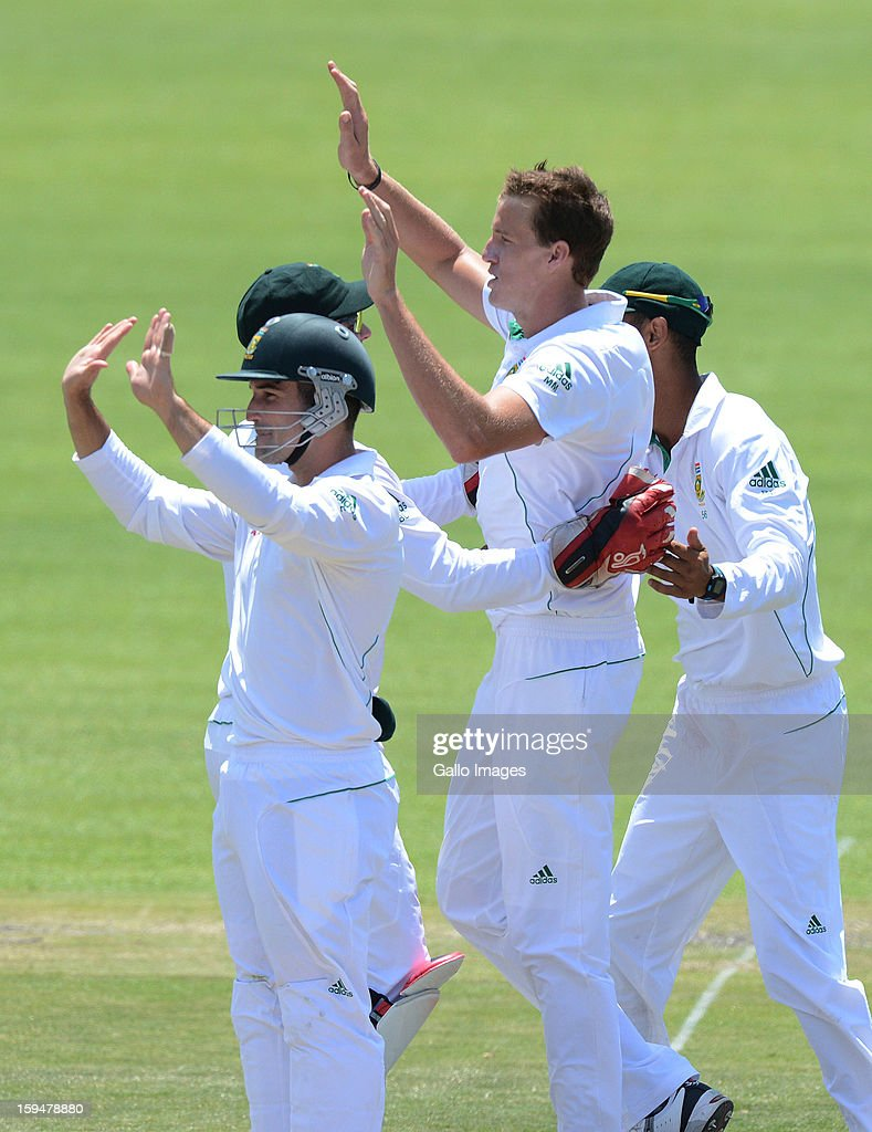 Morne Morkel of South Africa celebrates the wicket of Colin Munro of New Zealand for 15 runs during day 4 of the 2nd Test match between South Africa and New Zealand at Axxess St Georges on January 14, 2013 in Port Elizabeth, South Africa.