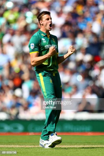Morne Morkel of South Africa celebrates the wicket of Niroshan Dickwella of Sri Lanka during the ICC Champions trophy cricket match between Sri Lanka...
