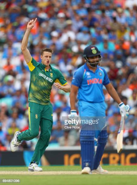 Morne Morkel of South Africa celebrates the wicket of Rohit Sharma of India during the ICC Champions trophy cricket match between India and South...