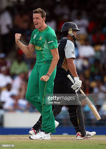Morne Morkel of South Africa celebrates the wicket of Ross Taylor of New Zealand during The ICC World Twenty20 Super Eight match between South Africa...