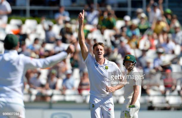 Morne Morkel of South Africa double celebrate the wicket of Shaun Marsh of Australia and taking 300 wickets during day 2 of the 3rd Sunfoil Test...