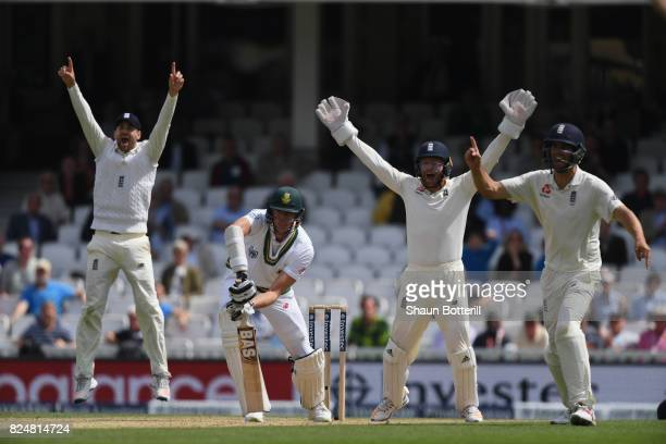 Morne Morkel of South Africa is trapped lbw by Moeen Ali of England for his hattrick during day five of the 3rd Investec Test match between England...