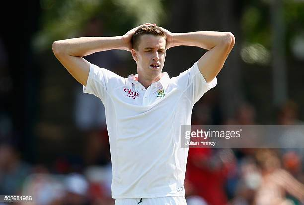 Morne Morkel of South Africa looks frustrated after another dropped catch during day three of the 1st Test between South Africa and England at Sahara...