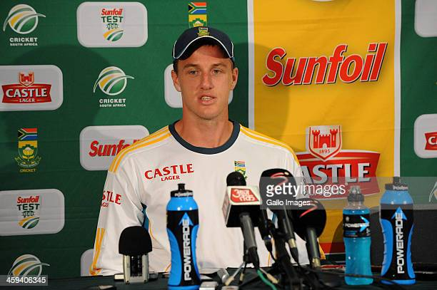 Morne Morkel of South Africa speaks to the media during a press conference on day 1 of the 2nd Test match between South Africa and India at Sahara...