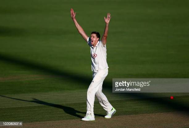Morne Morkel of Surrey appeals unsuccessfully during day three of the Specsavers County Championship Division One match between Surrey and Lancashire...