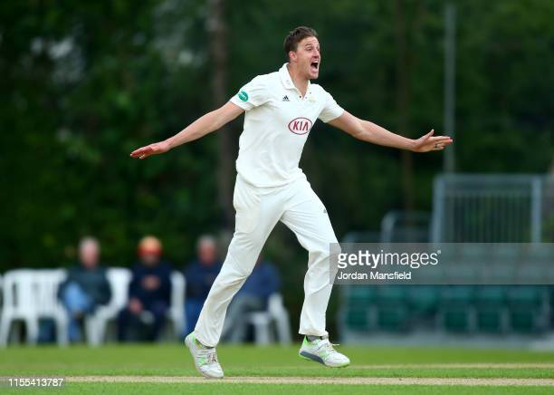 Morne Morkel of Surrey appeals unsuccessfully during day three of the Specsavers County Championship Division 1 match between Surrey and Yorkshire at...