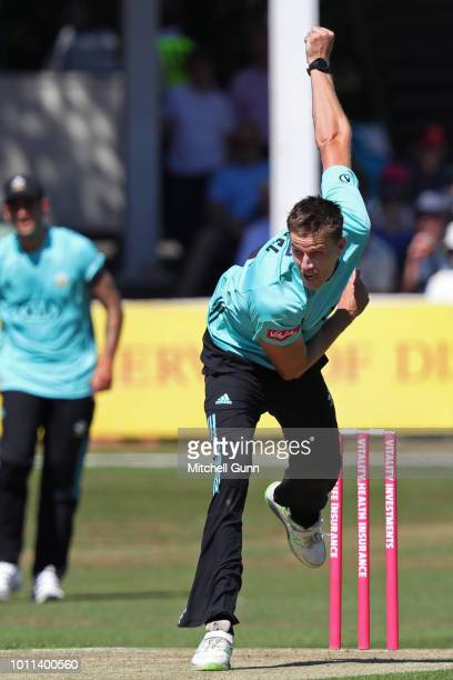 Morne Morkel of Surrey bowling during the Vitality Blast T20 match between Essex Eagles and Surrey at The Cloud FM Cricket Ground on August 5 2018 in...