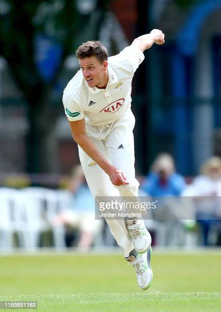 Morne Morkel of Surrey bowls during day three of the Specsavers County Championship Division One match between Surrey and Somerset at Woodbridge Road...