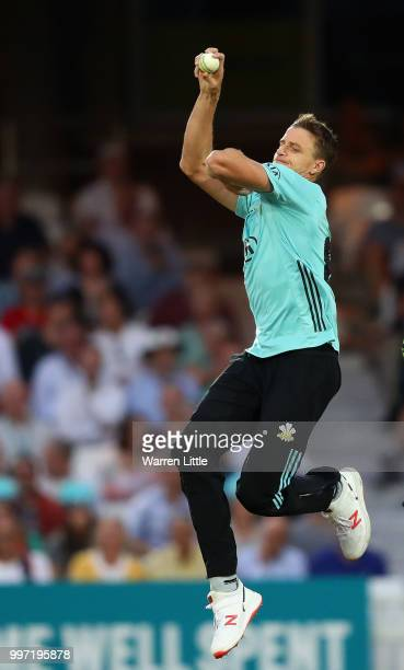 Morne Morkel of Surrey bowls during the Vitality Blast match between Surrey and Essex Eagles at The Kia Oval on July 12 2018 in London England