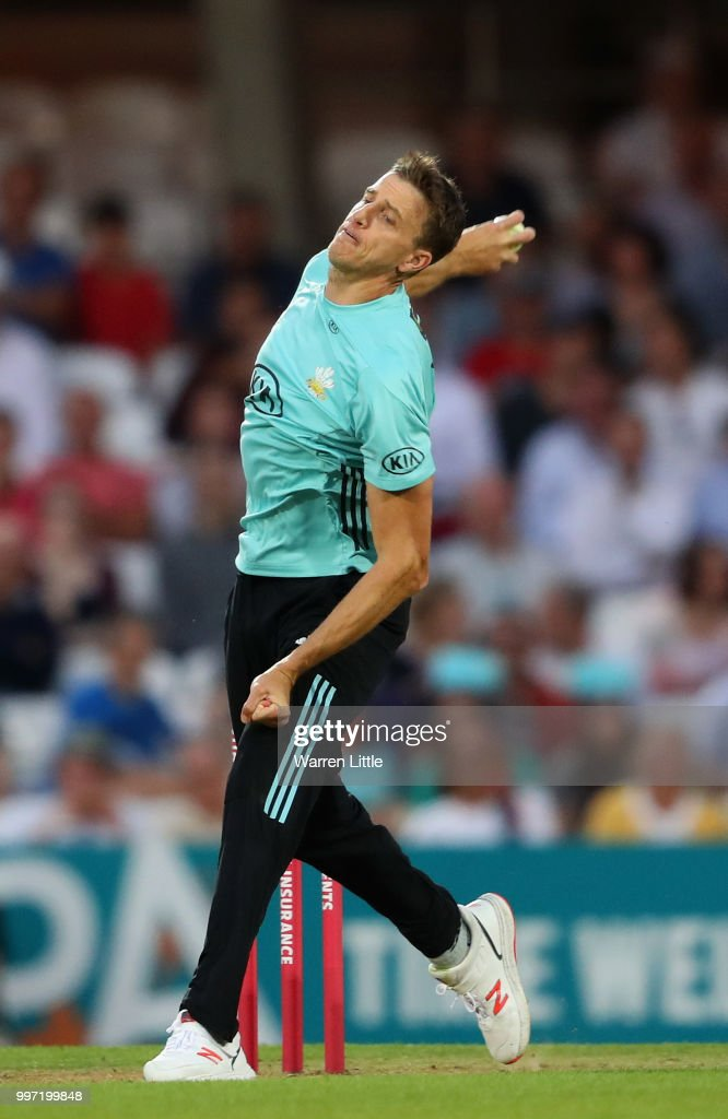 Morne Morkel of Surrey bowls during the Vitality Blast match between Surrey and Essex Eagles at The Kia Oval on July 12, 2018 in London, England.