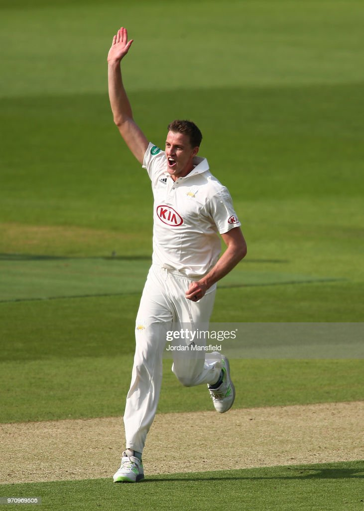Morne Morkel of Surrey celebrates dismissing Sean Ervine of Hampshire during the Specsavers County Championship Division One match between Hampshire and Surrey at Ageas Bowl on June 10, 2018 in Southampton, England.