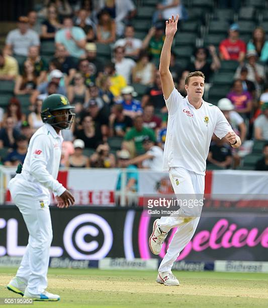 Morne Morkel of the Proteas celebrates the wicket of Steven Finn of England during day 3 of the 3rd Test match between South Africa and England at...