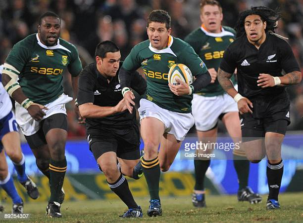 Morne Steyn of South Africa breaks away during the 2009 Tri-Nations Series match between South Africa and New Zealand at Vodacom Park on July 25,...