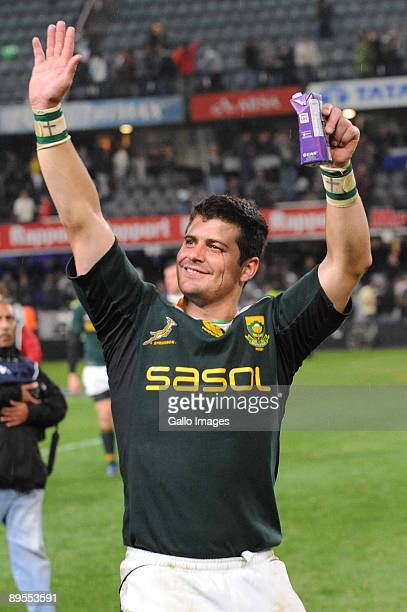 Morne Steyn of South Africa celebrates during the Tri Nations match between South Africa and the All Blacks at the Absa Stadium on August 1, 2009 in...