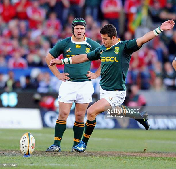 Morne Steyn of South Africa kicks during the Second Test match between South Africa and the British and Irish Lions at Loftus Versfeld on June 27,...