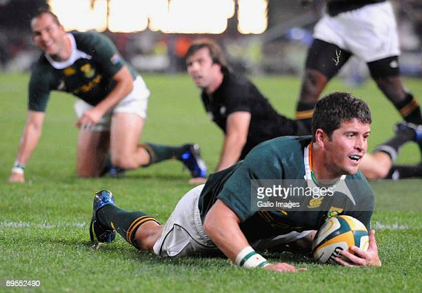Morne Steyn of South Africa scores a try during the Tri Nations match between South Africa and the All Blacks at the Absa Stadium on August 1 2009 in...