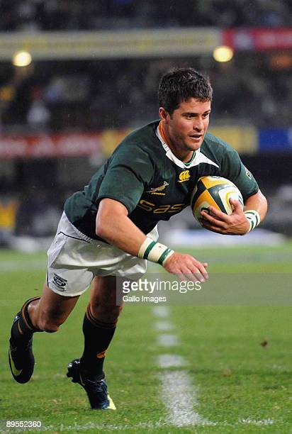 Morne Steyn of South Africa scores a tryduring the Tri Nations match between South Africa and the All Blacks at the Absa Stadium on August 1 2009 in...