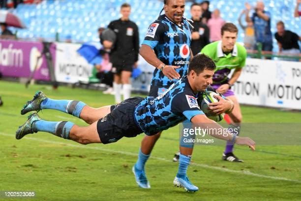 Morne Steyn of the Bulls scores a try during the Super Rugby match between Vodacom Bulls and Blues at Loftus Versfeld on February 22 2020 in Pretoria...