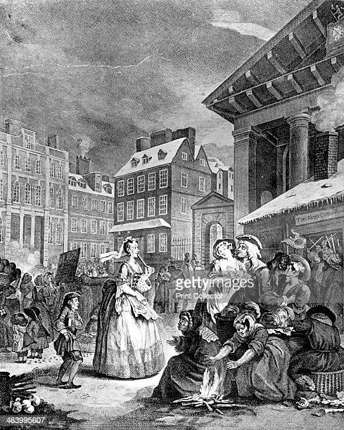 'Morning ' 1738 Scene in Covent Garden London early on a winter morning A small fire burns in the foreground A stallkeeper is seated on a basket A...