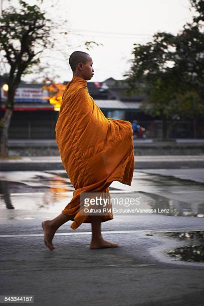 Morning alms round for a Buddhist Monk in Chiang Mai, Thailand