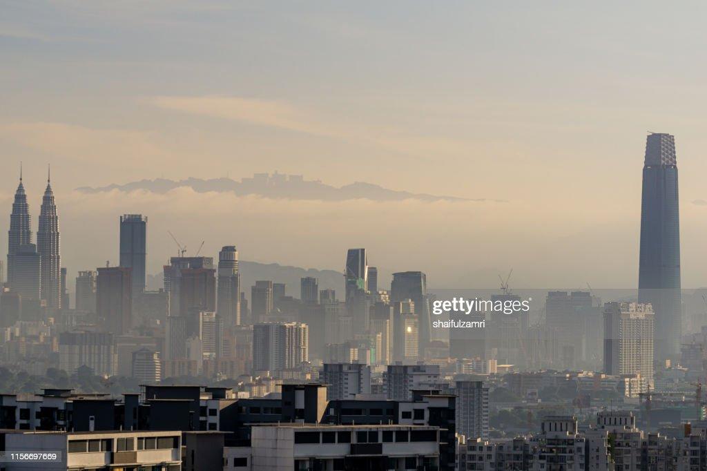 Morning and hazy view over downtown Kuala Lumpur, Malaysia. : Stock Photo