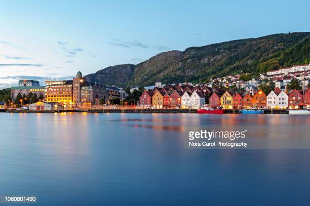 morning at bergen, norway. - bergen norway stock pictures, royalty-free photos & images