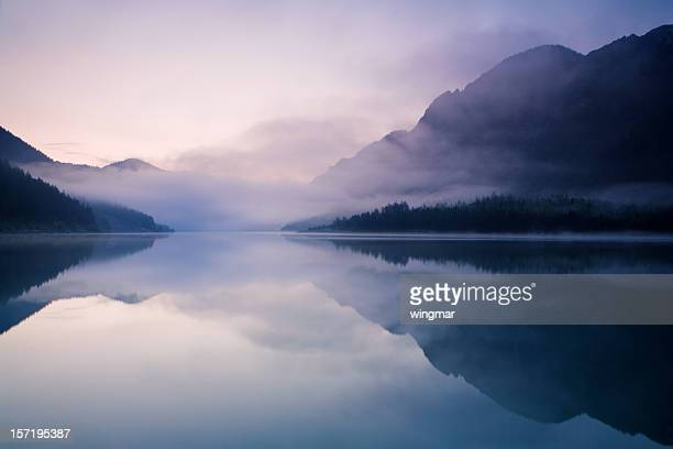 morning at lake plansee - fog stock pictures, royalty-free photos & images