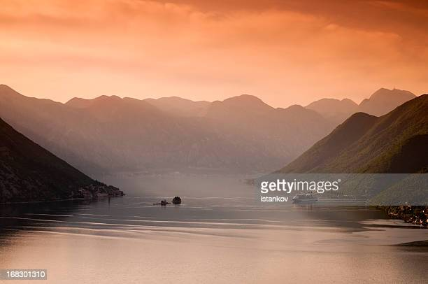 morning at the bay - kotor bay stock pictures, royalty-free photos & images