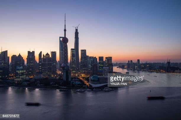 Morning at the bund in Shanghai