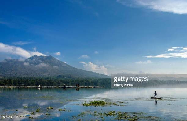 morning at the lake - lake batur stock photos and pictures