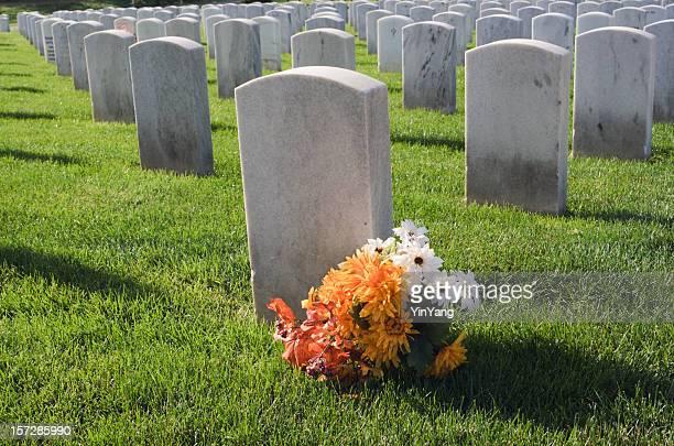 morning at the national cemetery - tombstone stock pictures, royalty-free photos & images