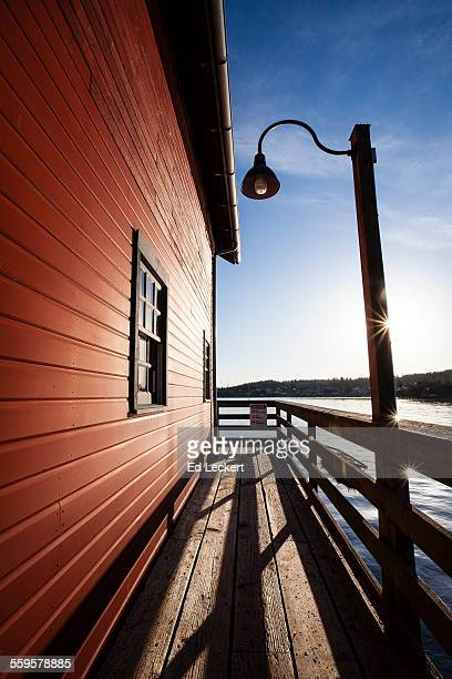 morning at the pier, coupeville, washington - leckert stock pictures, royalty-free photos & images