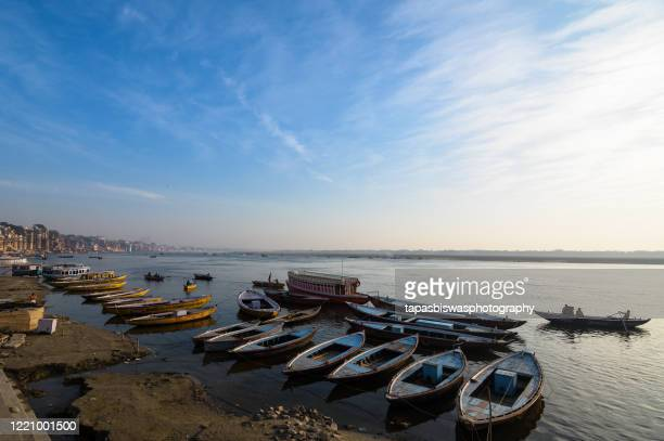 morning at varanasi - ghat stock pictures, royalty-free photos & images