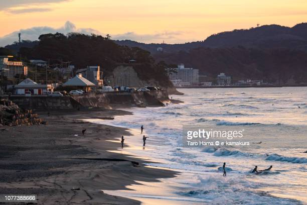 Morning beach in Kamakura in Kanagawa prefecture in Japan