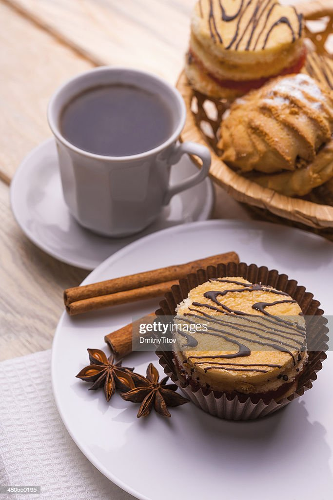 morning breakfast. coffee and fresh pastries : Stock Photo
