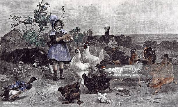A Morning Call Chicken AW Strutt Child 1891 Girl Feeding Chickens Farm House Bush Sleeping Dog Asleep Chicks Hen Duck Smoke Branch Tree Broad Scenery...