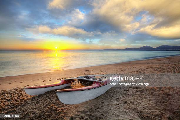 morning catameran at holloways beach, cairns - cairns stock photos and pictures