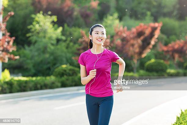 morning chinese girl run
