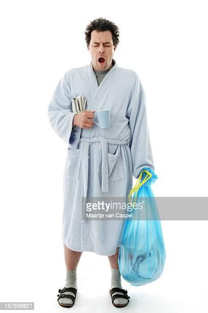 Morgen-Gähnen Mann Hausarbeit