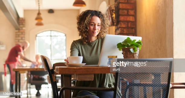 morning coffee and emails - internet cafe stock pictures, royalty-free photos & images