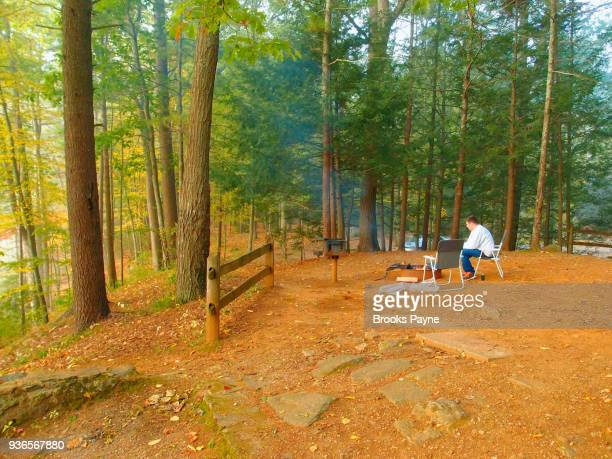 morning coffee by campfire - sturbridge stock photos and pictures