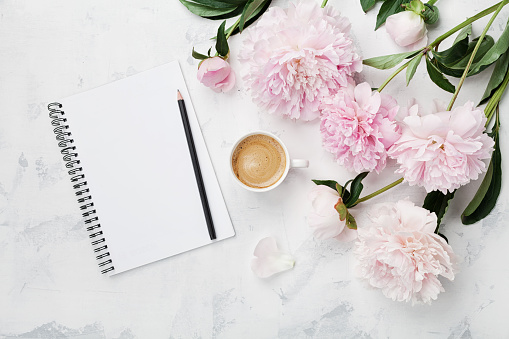 Morning coffee mug for breakfast, empty notebook, pencil and pink peony flowers. Flat lay. Woman working desk. 806870424