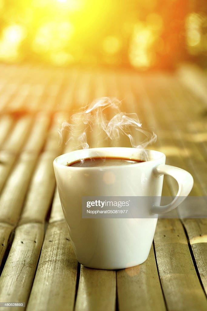 morning coffee on the bamboo : Stockfoto