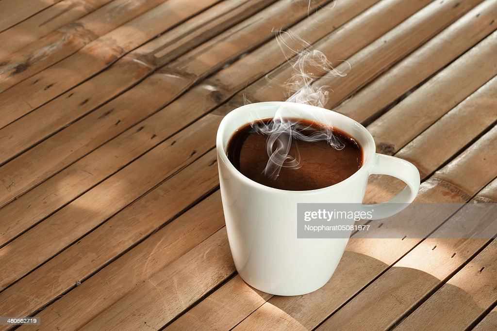 morning coffee on the bamboo : Stock Photo