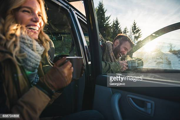 morning coffee - driving in snow stock photos and pictures