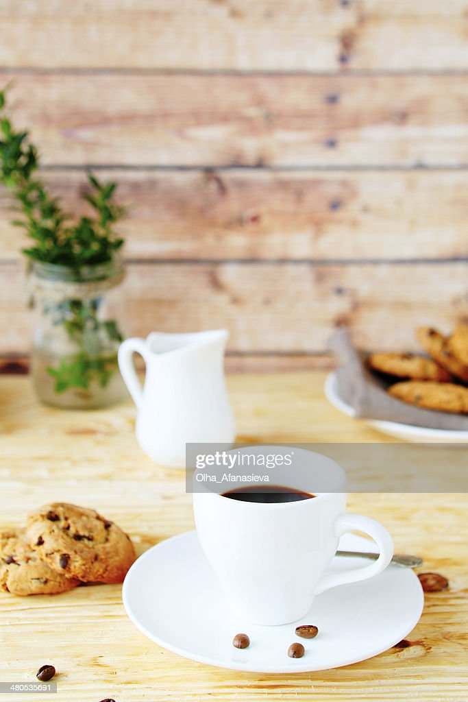 morning coffee with cookies : Stock Photo