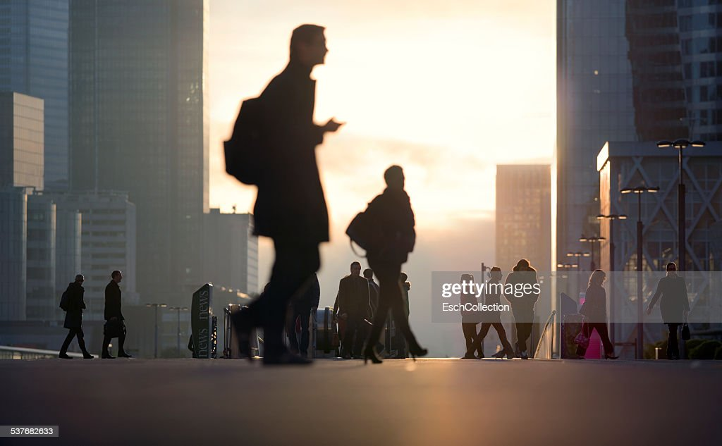 Morning commute at business district in Paris : Stock Photo